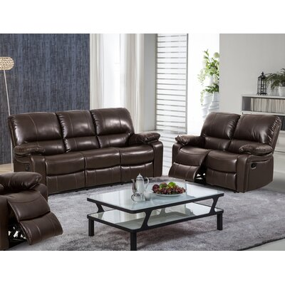 Layla 2 Piece Reclining Living Room Sofa and Loveseat Set Upholstery: Brown