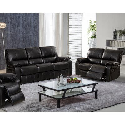 Layla 2 Piece Reclining Living Room Sofa and Loveseat Set Upholstery: Black