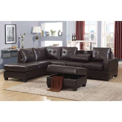 Silvia Reversible Sectional with Ottoman Upholstery: Dark Brown
