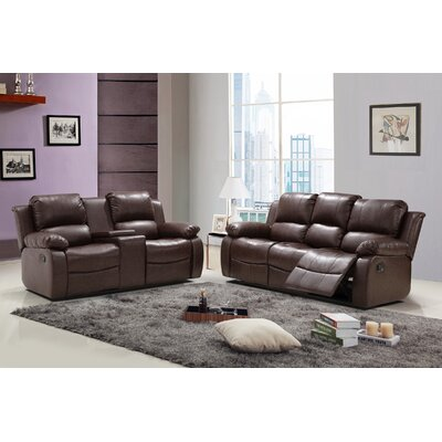 Phoenix 2 Piece Leather Living Room Set Upholstery: Reddish Brown