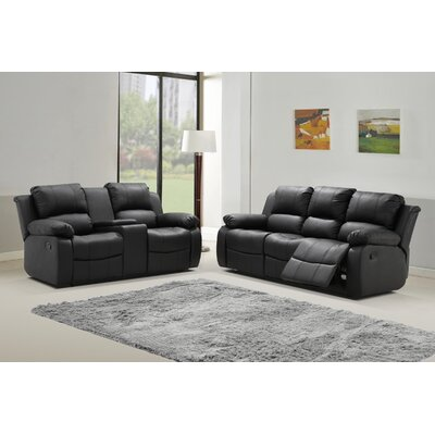 Phoenix 2 Piece Bonded Leather Living Room Set Upholstery: Black