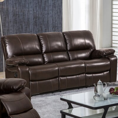 Layla Breathing Leather Reclining Sofa Upholstery: Dark Brown