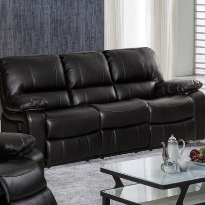 Layla Breathing Leather Reclining Sofa Upholstery: Black