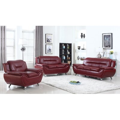 Sather 3 Piece Living Room Set Upholstery: Crimson Red