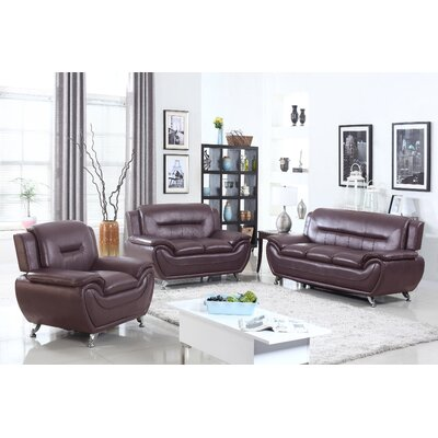 Sophie 3 Pieces Sofa Set Upholstery: Dark Brown
