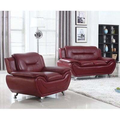 Sather 2 Piece Living Room Set Upholstery: Crimson Red