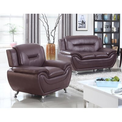 Sather 2 Piece Living Room Set Upholstery: Dark Brown