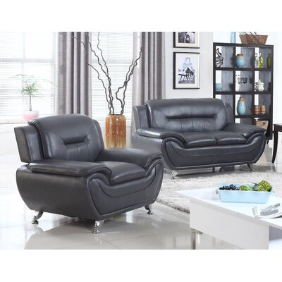 Sophie 2 Piece Loveseat and Chair Set Upholstery: Black
