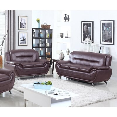 Sophie Modern Living Room Sofa and Loveseat Set Finish: Dark Brown