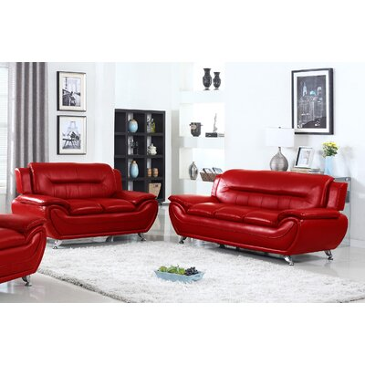 Sophie Modern Living Room Sofa and Loveseat Set Finish: Red