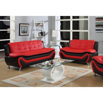 Tolar 2 Piece Living Room Set Upholstery: Black/Red