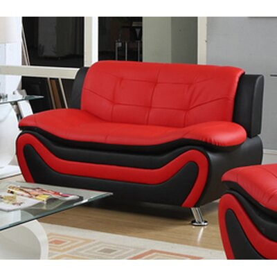 Fiorina Loveseat Upholstery: Black/Red