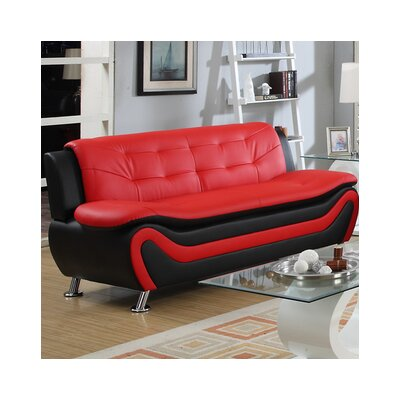 Fiorina Sofa Upholstery: Black/Red