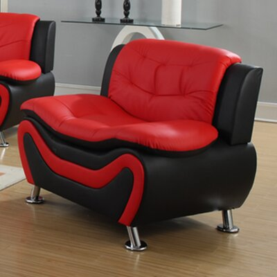 Fiorina Faux Leather Armchair Upholstery: Black/Red