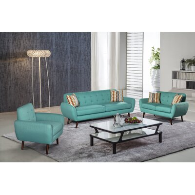 Keira 3 Piece Living Room Set Upholstery: Teal