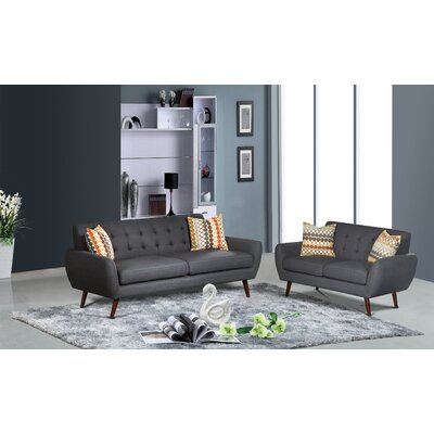 Keira 2 Piece Living Room Set Upholstery: Dark Gray