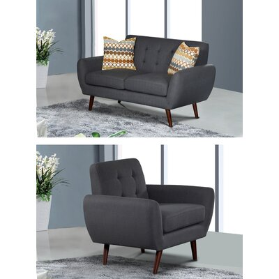 Keira 2 Piece Living Room Set Upholstery: Dark Gray