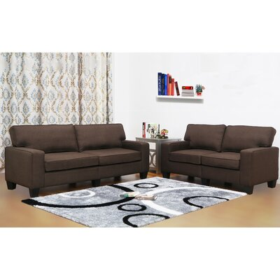 Jordan Linen 2 Piece Modern Living Room Sofa and Loveseat Set Upholstery: Dark Brown