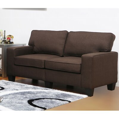 Jordan Linen Modern Living Room Loveseat Upholstery: Dark Brown