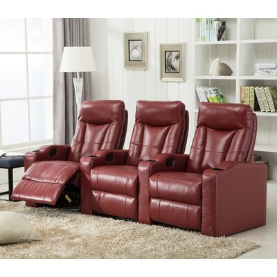 Priscilla Gel Reclining Leather Home Theater Sofa Upholstery : Red