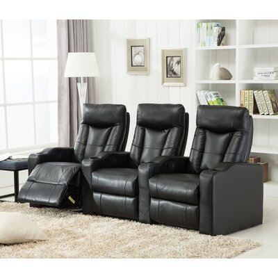 Priscilla Gel Reclining Leather Home Theater Sofa Upholstery: Black
