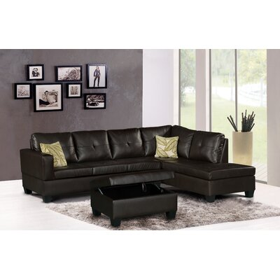 Damos Reversible Sectional Finish: Dark Brown, Orientation: Right Hand Facing