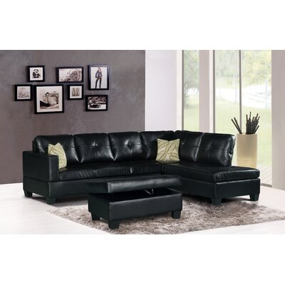 Damos Sectional Finish: Black, Orientation: Right Hand Facing