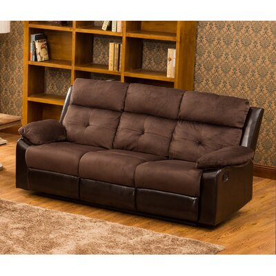 Tanna Reclining Sofa Upholstery: Dark Brown