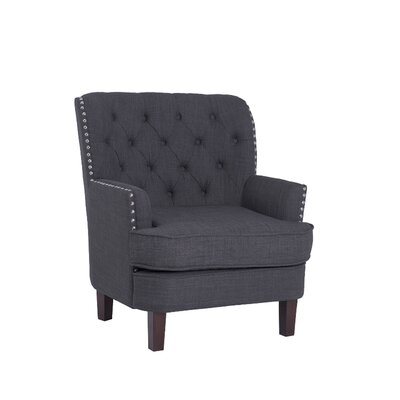 Morales Wingback Chair Upholstery: Charcoal