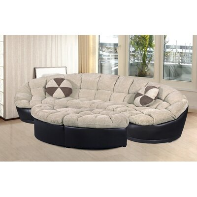 Chantilly 4 Piece Comfy Conversion Sofa Set Upholstery: Beige