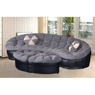 Chantilly 4 Piece Comfy Conversion Sofa Set Upholstery: Gray