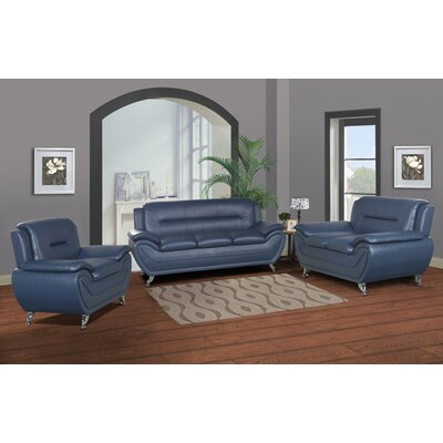 Polston Modern 3 Piece Living Room Set Upholstery: Blue