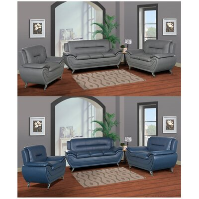 Lester 3 Piece Living Room Set Color: Blue