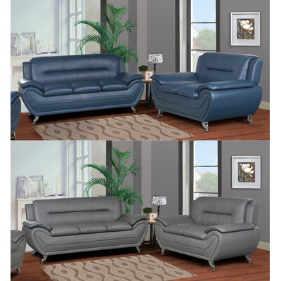 Lester 2 Piece Living Room Set Color: Blue