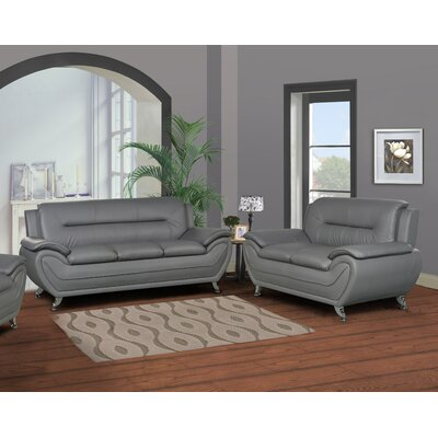 Polston Modern 2 Piece Living Room Set Upholstery: Gray