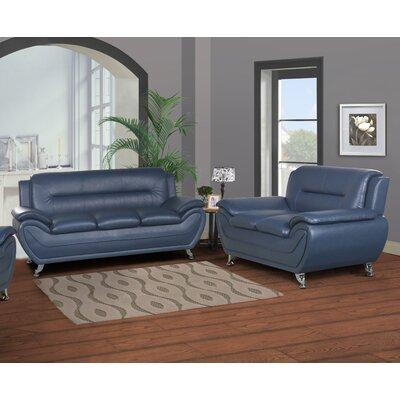 Polston Modern 2 Piece Living Room Set Upholstery: Blue