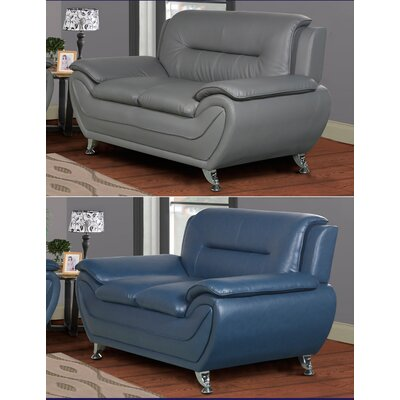 Lester Modern Living Room Faux Leather Loveseat Upholstery: Blue
