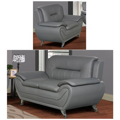 Polston 2 Piece Living Room Set Upholstery: Gray