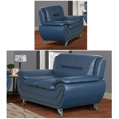 Lester 2 Piece Living Room Set Upholstery: Blue