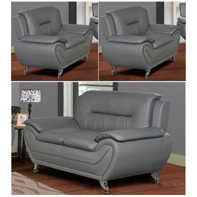 Polston 3 Piece Solid Living Room Set Upholstery: Gray