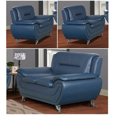 Polston 3 Piece Solid Living Room Set Upholstery: Blue