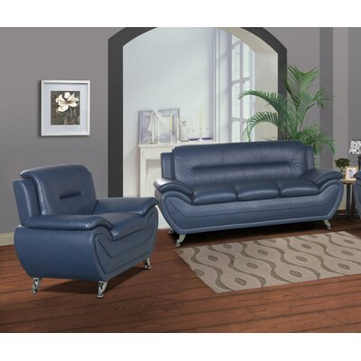 Brose Modern 2 Piece Living Room Set Upholstery: Blue