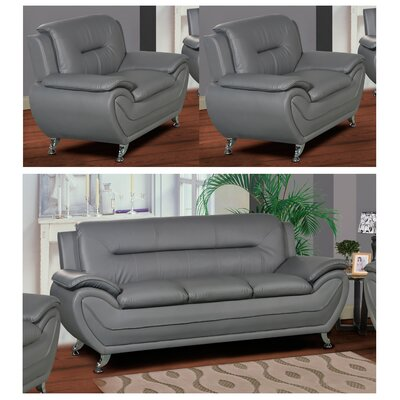 Polston 3 Piece Living Room Set Upholstery: Gray