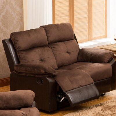 Tanna Reclining Loveseat Upholstery: Dark Brown