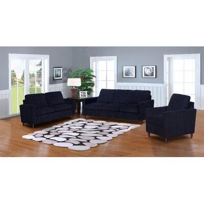 Anglin Solid Raisin Fabric Modern 3 Piece Living Room Set