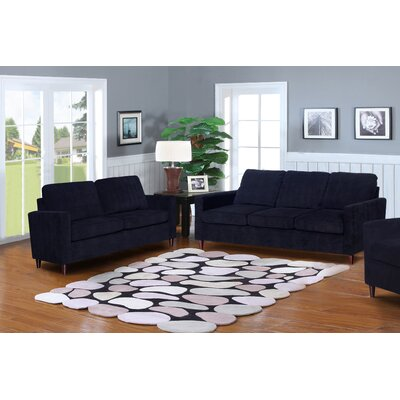 Anglin Solid Raisin Fabric Modern 2 Piece Living Room Set
