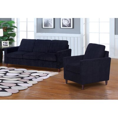 Anglin Raisin Fabric Modern 2 Piece Wood Frame Living Room Set