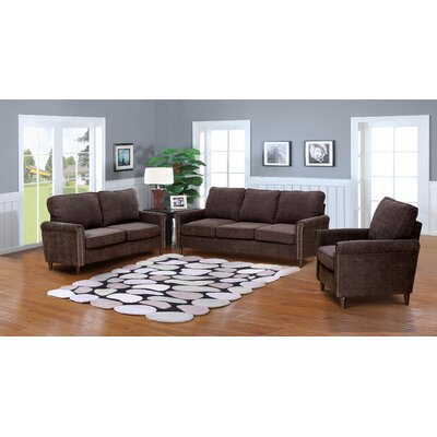 Hayton Fabric Modern 3 Piece Solid Living Room Set