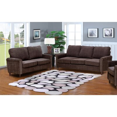 Hayton Fabric Modern 2 Piece Solid Living Room Set