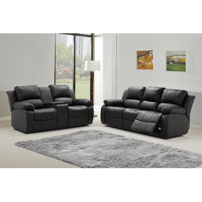 Phoenix 2 Piece Leather Living Room Set Upholstery: Black
